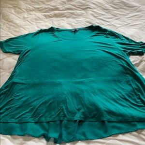 Lane Bryant teal shirt with sheer back panel